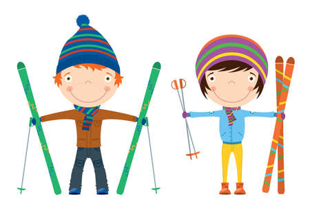 Funny cool kids with skis isolated on white background Illustration