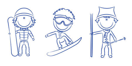 skier: Funny cute boys with snowboard and skis