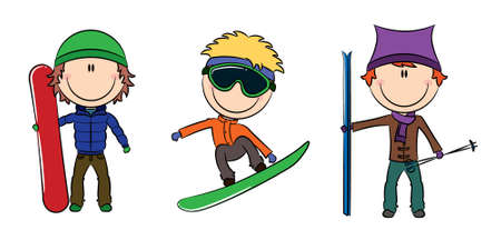 Funny cute boys with snowboard and skis