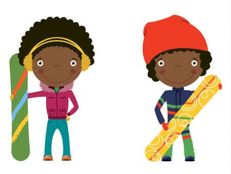 Cute cheerful African-american kids with boards for snowboard. Color illustration. Vector