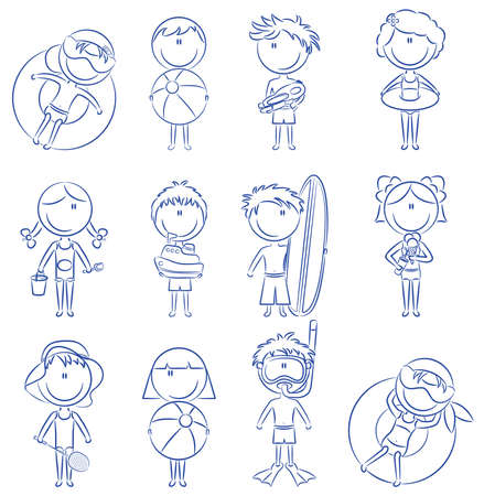 Doodle with cute happy boys and girls on the beach isolated on white background Illustration