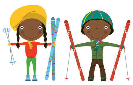 Funny cool African-American kids with skis isolated on white background Vector