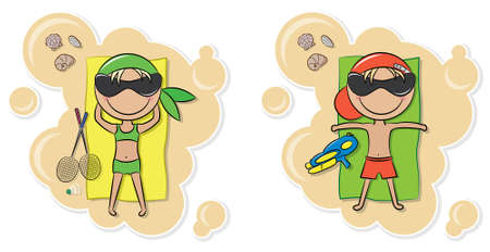 Cheerful cute boy and girl relax on the beach after game  Vector