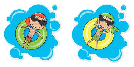 Illustration d'une jeune fille gaie et le garçon se détendre sur le tube intérieur Vecteurs