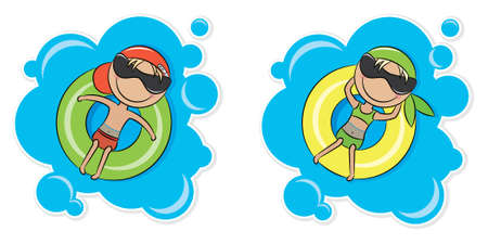 Illustration of a young cheerful girl and boy relaxing on inner tube Vector