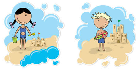 Cheerful kids playing on the beach with the sand castle Vector