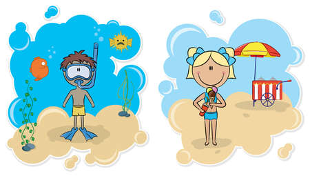wear mask: Cheerful boy swimming underwater and beautiful girl with ice-cream on the beach