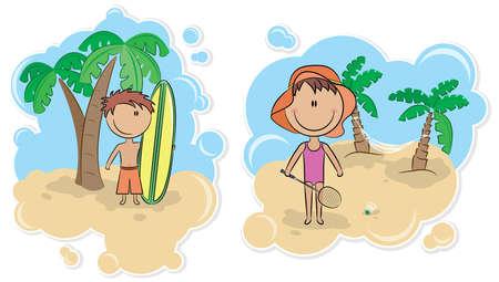 enfant maillot de bain: Surf gar�on et une fille avec une raquette de badminton sur la plage