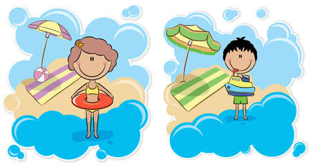 Cheerful boy playing with ship and cheerful cute girl with inner tube on the beach Vector