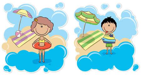 enfant maillot de bain: Garçon gai de jouer avec des navires et joyeuse fille mignonne avec chambre à air sur la plage Illustration