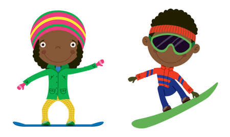 african cartoon: Cute cheerful African-American kids flying on a snowboard. Color illustration. Illustration