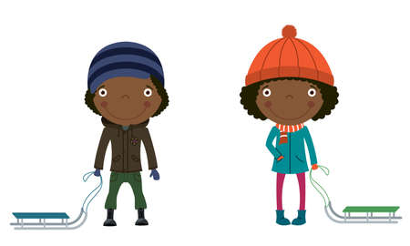 african cartoon: Cute African-American children with sleds ready to ride Illustration