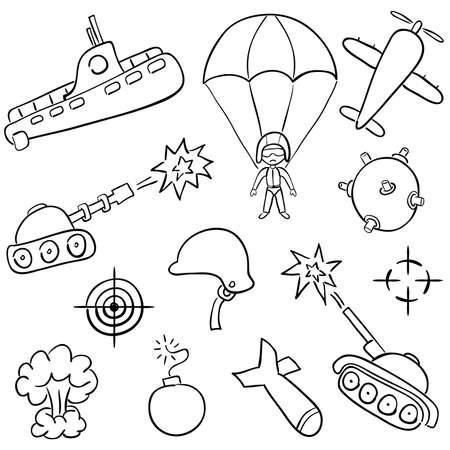 battle plane: Garabatos dibujados a mano sobre los temas de guerra