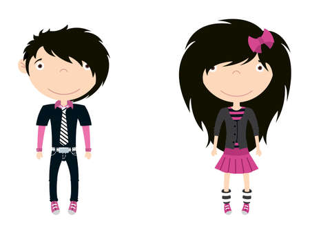 punk hair: Cute trendy emo boy and girl