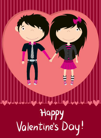 Love couple emo boy and girl greeting card Vector