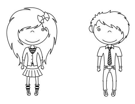 Cute trendy emo boy and girl Stock Vector - 12133065