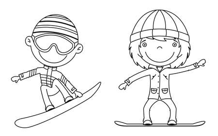 Cute cheerful kids flying on a snowboard.