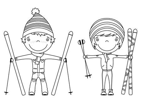 winter sports: Funny cool kids with skis isolated on white background Illustration