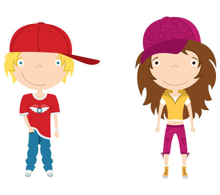 causal: Cute modern boy and girl. Color illustration.