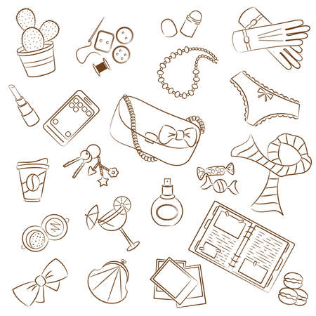 photo of accessories: Cute doodle with differents female things Illustration