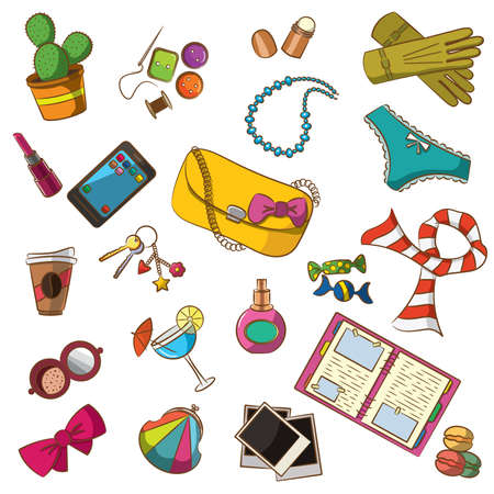 photo of accessories: Cute doodle with differents female things. Color version.