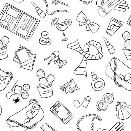 Cute different seamless with female things Vector