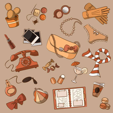 Cute doodle with different vintage female things   Vector