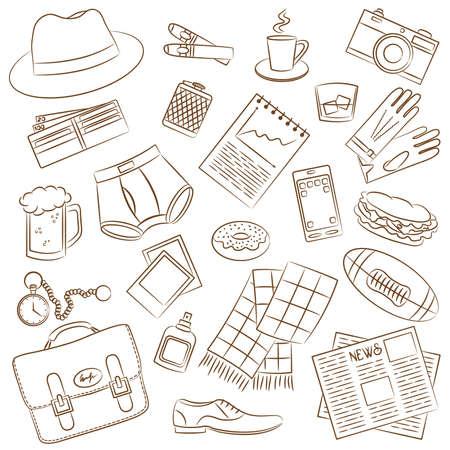 group of objects: Cute doodle met differents mannelijke dingen