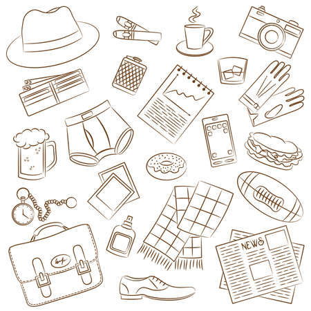 photo of accessories: Cute doodle with differents male things Illustration