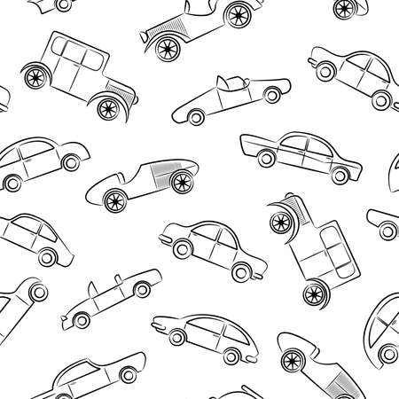 Cute doodle seamless patern with vintage cars  Illustration
