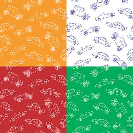 classic cars:  Cute doodle seamless paterns with vintage cars