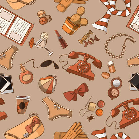 Cute seamless with vintage female things Vector