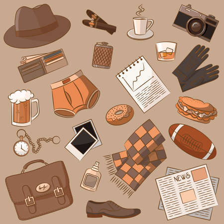 Cute doodle with differents vintage male things Stock Vector - 13054872
