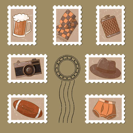 Cute stamp and postmark collection in vintage style Stock Vector - 13054870