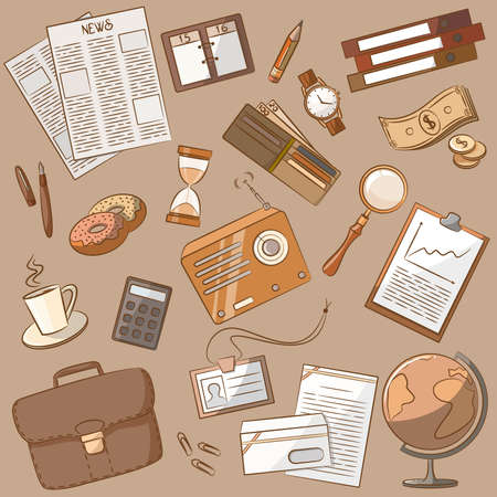 drink tools: Cute doodle on the business theme vintage style Illustration