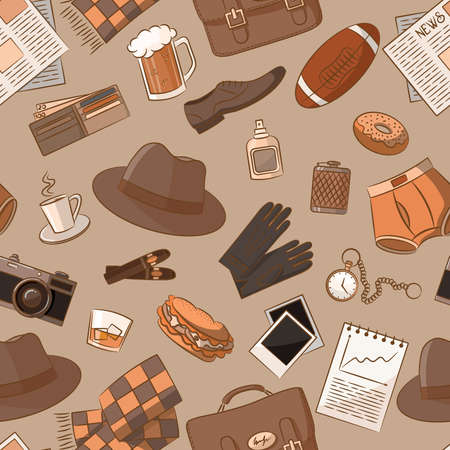 Cute different seamless with vintage male things Vector