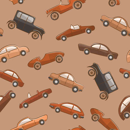 Cute color seamless patern with vintage cars  Vector