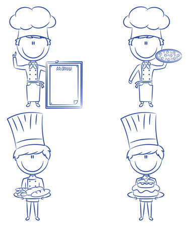 Collection of smart cute chef men isolated on white background Vector