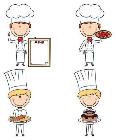 chef italiano: Recolección de los hombres inteligentes cocinero lindo aislados sobre fondo blanco
