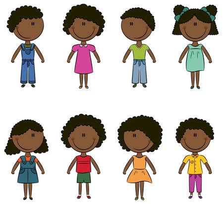 Lindo feliz afro-americanos los niños y las niñas aisladas sobre fondo blanco Ilustración de vector