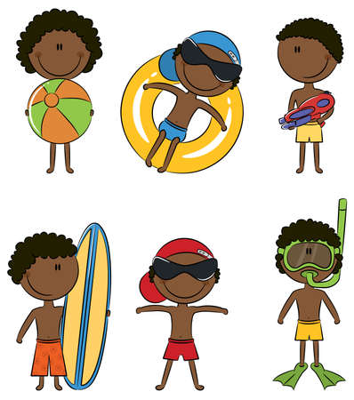 cartoon surfing: Cute happy African-American boys on the beach isolated on white background Illustration