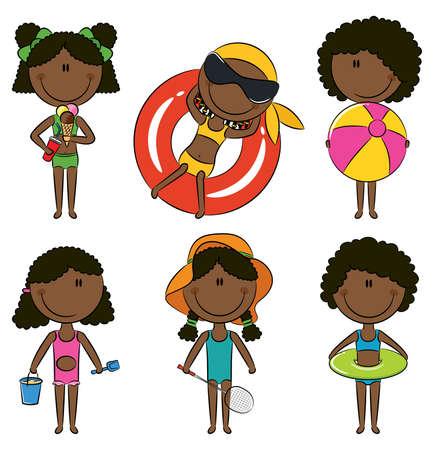 enfant maillot de bain: Mignon, heureux, afro-am�ricains les filles sur la plage isol�e sur fond blanc