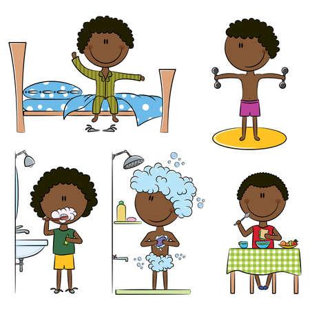 Dagelijks 's morgens Afro-Amerikaanse Boys Life zoals wake up, ochtendgymnastiek, tanden schoonmaken, douche en ontbijt