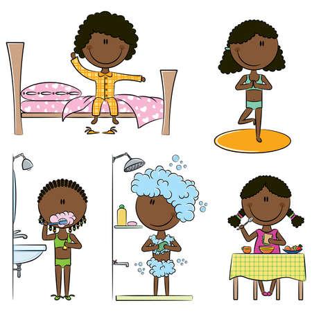 아침: 일어나, 요가, 이빨 청소, 샤워 및 아침 식사를 포함하여 매일 아침 아프리카 계 미국인 소녀 라이프 일러스트