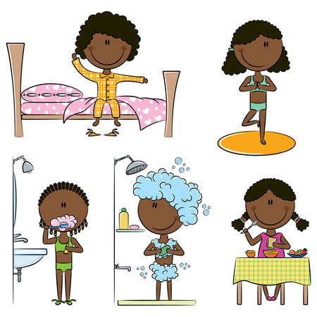 Daily Morning African-American Girls Life including wake up, yoga, teeth cleaning, shower and breakfast
