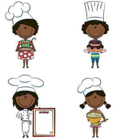 chef caricatura: Colección de African-American Chef aisladas sobre fondo blanco