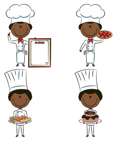 Collection of smart cute African-American chef men isolated on white background Vector