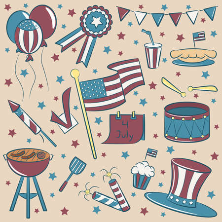Doodle color objects on the independence day theme vintage style Vector