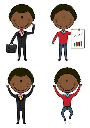 Cute and funny African-American office managers: have an idea, presentation, victory Stock Vector - 13164987