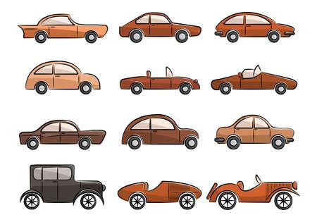 classic cars: Vintage cars doodle color icons set